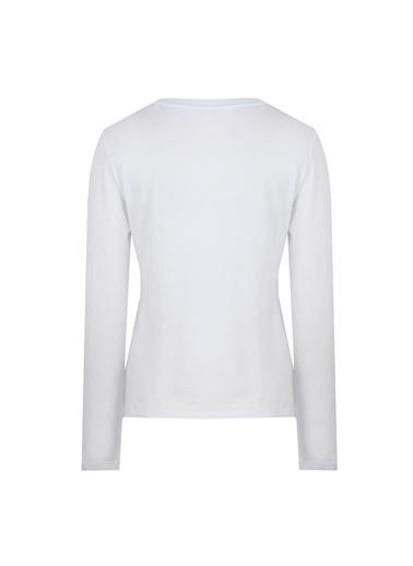 Deux Beautés Blanche Bisiklet Yaka Uzun Kollu T-Shirt Beyaz